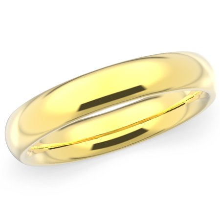 10K Solid Yellow Gold 4mm Plain Men's and Women's Wedding Band -