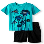 Graphic T-Shirt & Cargo Shorts, 2pc Outfit Set (Toddler Boys)