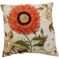 "Better Homes & Gardens Coral Sunflower Decorative Throw Pillow, 18"" x 18"", Coral"