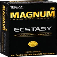 2 Pack - TROJAN MAGNUM Ecstasy Condoms Ultrasmooth Lubricant Large Size 10 Each