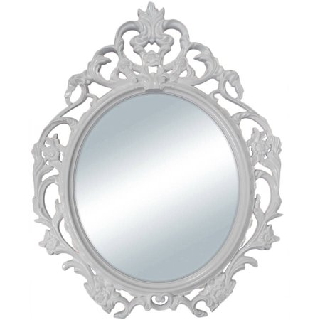"""Mainstays White Baroque Oval Wall Mirror 24""""x19"""""""
