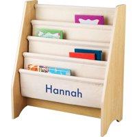 KidKraft - Personalized Natural Sling Bookshelf, Blue Block Font Girl's Name