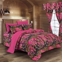 The Woods High Viz Pink Camouflage Twin 5pc Premium Luxury Comforter, Sheet, Pillowcases, and Bed Skirt Set by Regal Comfort Camo Bedding Set For Hunters Cabin or Rustic Lodge Teens Boys and Girls