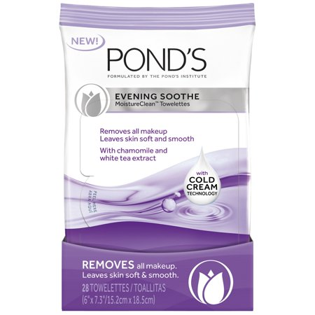 Pond's MoistureClean Evening Soothe Makeup Remover Wipes, 28