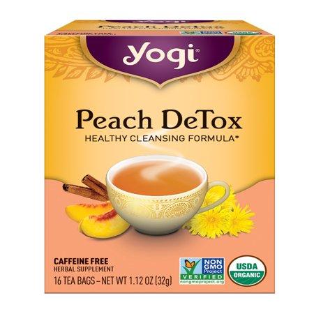 (2 Pack) Yogi Tea, Peach DeTox Tea, Tea Bags, 16 Ct, 1.12