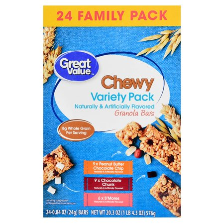 Great Value Chewy Granola Bars, Variety Pack, 20.3 oz, 24 Count (118g Bars)