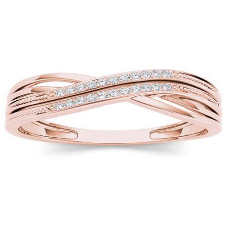 1/20Ct TDW Diamond Ribbon Crossover 10K Rose Gold Diamond Fashion Ring