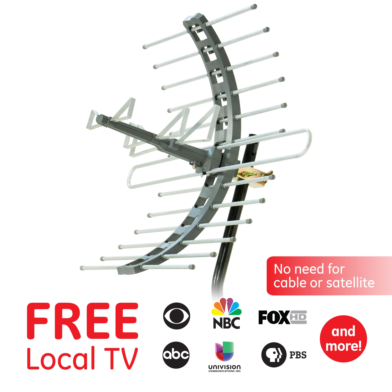 70 Mile Long Range HDTV ™ GE 35688 Pro Outdoor Yagi TV Antenna with Mount