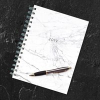 """2019 Marble 6.25"""" x 8"""" January 2019-December 2019 Medium Weekly Monthly Planner"""