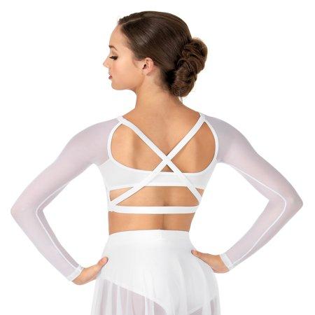 Belly Dance Crop (Adult Long Sleeve X-Back Dance Crop Top )