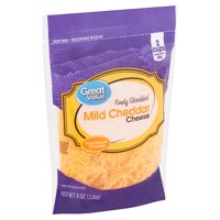 Great Value Finely Shredded Mild Cheddar Cheese, 8 oz