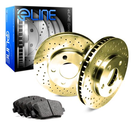 1969 1970 1971 1972 1973 1974 1975 1976 1977 Porsche 911 Front Gold Drilled Brake Disc Rotors & Ceramic Brake Pads ()