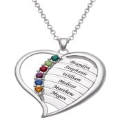 """Family Jewelry Personalized Mother's Family Rhodium-Plated or Gold-Plated Birthstone and Names Heart Necklace, 18"""""""