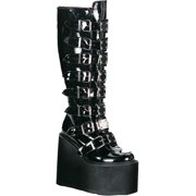 368ff1641a5 Black Patent Gothic Boots Metal Buckles Straps 5 1 2 Inch Platform Knee High