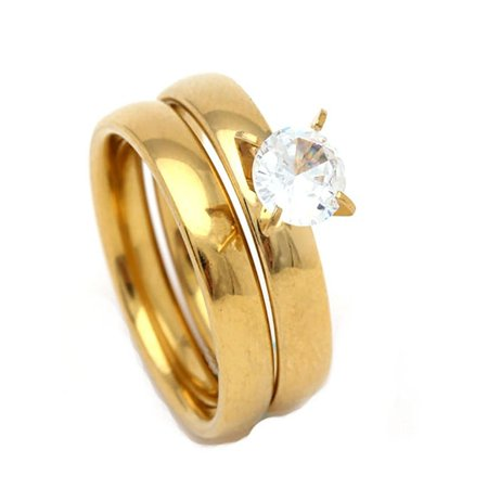 Beautiful Gold over Stainless Steel Engagement Wedding Ring With Free Matching Band - Ginger Lyne (Beautiful Stainless Steel Ring)
