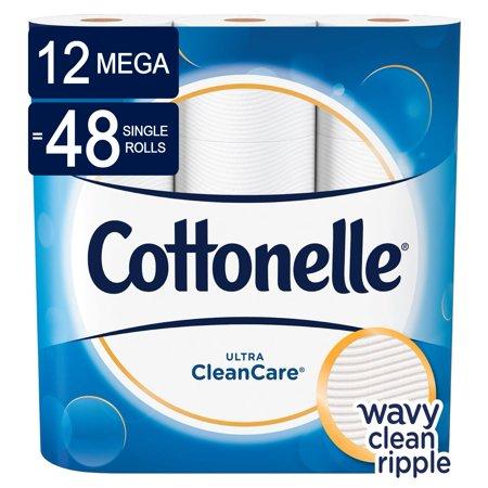 Cottonelle CleanCare Toilet Paper, 12 Mega Rolls (=48 Regular Rolls)