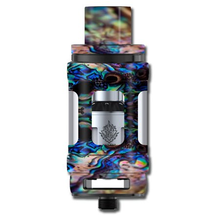Skin Decal For Smok Tfv12 Cloud King Tank Vape Mod / Abalone Blue Black Shell