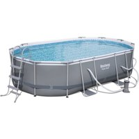 "Bestway Power Steel 16' x 10' x 42"" Oval Frame Swimming Pool Set with Pump, Ladder and Cover"
