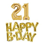 21st Birthday Party Balloons Supplies And Decorations In Gold