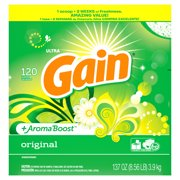 Gain Powder Laundry Detergent for Regular and HE Washers, Original Scent, 137 ounces 120 loads
