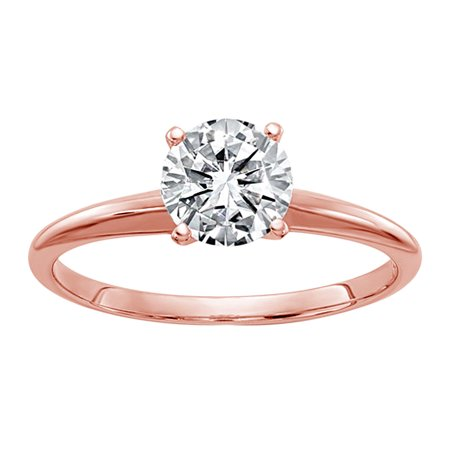 14k Rose Gold Round (IGI) Certified Diamond Solitaire Engagement Ring FOR Women (F/VS2- 0.75Cttw)