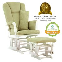 Storkcraft Tuscany Glider and Ottoman with Lumbar Pillow White with Sage Cushions