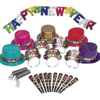 Colorful New Years Eve Party Supplies Kit for 10