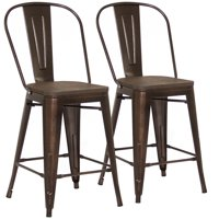 "Best Choice Products 24"" Set of 2 High Backrest Industrial Metal Counter Height Bar Stools (Brown)"