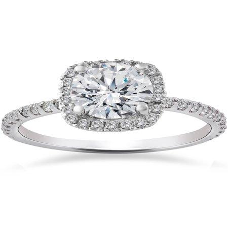 FG/SI 2 Carat Cushion Halo  Diamond Engagement Ring 14K White
