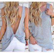 81bdee225a401 Women Sexy Sleeveless Open Back Shirt Knotted Tank Top Blouse Sport Vest  Tops Tshirt