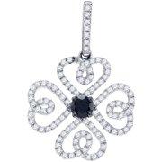 10K White Gold 0.60ctw Fancy Sleek Pave Diamond Fashion 4 Heart Clover Pendant