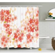 Floral Shower Curtain, Japanese Sakura Flowers Cherry Blossoms in Vibrant Colors Illustration, Fabric Bathroom