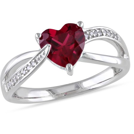 Cartier Ruby Ring (1-5/8 Carat T.G.W. Created Ruby and Diamond-Accent Sterling Silver Heart Infinity Ring)