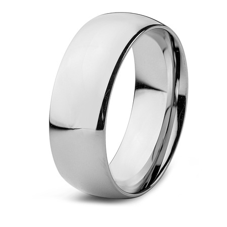 Stainless Steel High Polished Domed Wedding Ring (8 mm)