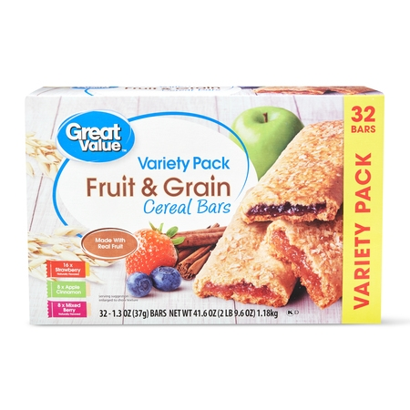 Great Value Fruit & Grain Bars, Variety Pack, 41.6 oz, 32 (Great Breakfasts)
