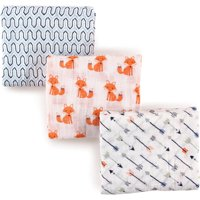 Hudson Baby Boy and Girl Muslin Swaddle Blankets, 3-Pack - Foxes