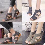 3aef745fb27f Women Gladiator Sandals Zipper Hollow High Heels Shoes Summer Wear