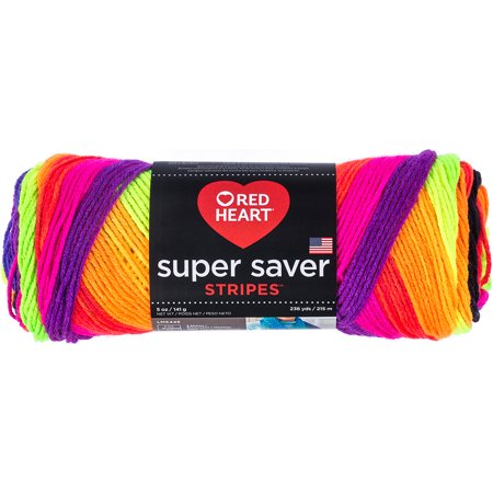 Red Heart Super Saver Acrylic Bright Stripe Yarn, 1 (Super Sterile)