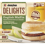 Jimmy Dean Delights® Turkey Sausage, Egg White & Cheese English Muffin Sandwiches, 8 Count (Frozen)