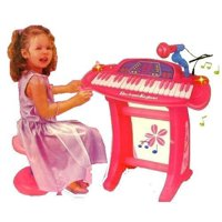 36 keys Pink Piano/Keyboard set with Microphone and stand/Chair