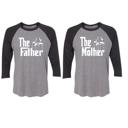 The Father - The Mother Couple Matching 3/4 Raglan Tee Valentines Anniversary Christmas Gift Men Small Women Small](M&m Couple)