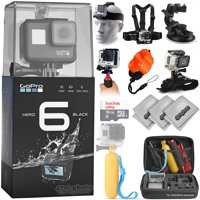 GoPro HERO6 Black 4K 12MP Digital Camcorder w/ 16GB - 18PC Sports Action Bundle (GoPro Action Case, Handgrip, Large Suction Cup Window Mount, Floating Handgrip with Strap, 8-Piece Cleaning Kit
