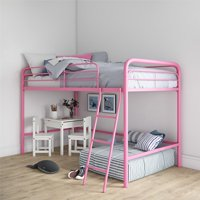 RealRooms Addison Junior Metal Loft Bed Frame, Twin Size, Multiple Colors