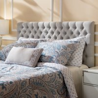 Noble House Conner Fabric Queen Full Headboard, Light Grey