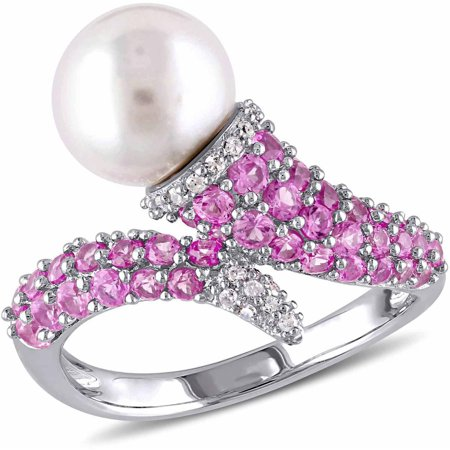 8-8.5mm White Round Cultured Freshwater Pearl with 1-1/6 Carat T.G.W. Created Rose Sapphire and Diamond-Accent Sterling Silver Bypass