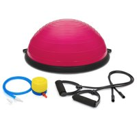 Best Choice Products Yoga Balance Strength Trainer Exercise Fitness Ball for Arm, Leg, Core Workout w/ Pump, 2 Removable Resistance Bands - Pink