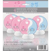 (4 Pack) Unique Gender Reveal Party Centerpiece Decorations, 6 in, 4ct