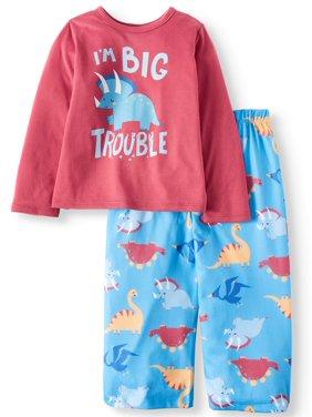 Toast & Jammies Long Sleeve Top & Pants Pajamas, 2pc Set (Toddler Boys)