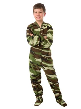 Little Boys Infant Toddler Green Camo Fleece Footed Pajamas Sleeper