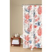 Coastal Dreams 100 Cotton Shower Curtain Textured Fabric Print Orange Inspired Surroundings